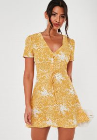 MISSGUIDED yellow floral half button tea dress