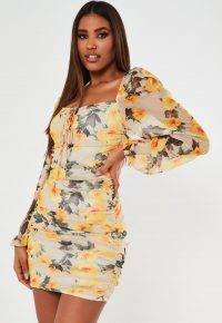 MISSGUIDED yellow floral mesh ruched tie front dress
