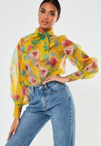 Missguided yellow floral organza pussybow shirt