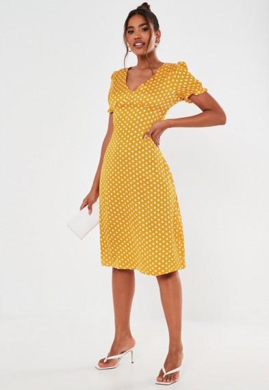 Missguided yellow satin polka dot ruched bust midi dress
