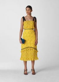 Whistles DITSY BLOSSOM PLEATED DRESS YELLOW / MULTI ~ summer occasion dresses