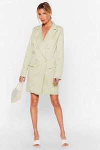 NASTY GAL You're in My Business Oversized Blazer Dress in Sage – jacket dresses