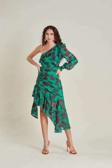 Dark Pink London AALIYAH ASSYMETRICAL COCKTAIL DRESS | green one shoulder dresses