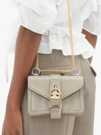 CHLOÉ Aby mini leather shoulder bag taupe grey – small luxe bags