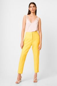 French Connection ADISA SUNDAE NEON TAILORED TROUSERS Lemon Tonic – tapered suit pants