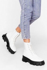 Admit De-cleat Wide Fit Faux Leather Boots White