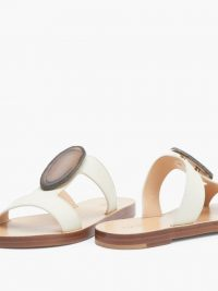GABRIELA HEARST Agate-embellished white-leather slides