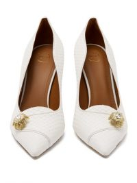 MALONE SOULIERS Alessia crystal-brooch elaphe pumps in white