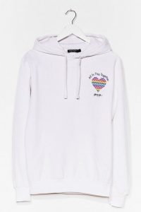 NASTY GAL All in This Together Charity Graphic Hoodie White – slogan hoodies