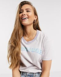 American Eagle logo t-shirt in lavender 580