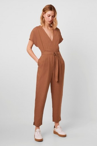 FRENCH CONNECTION ANESHA LINEN BELTED V NECK JUMPSUIT Otter Tan