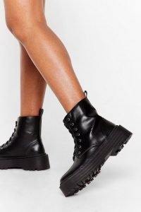 NASTY GAL Ankle Graze the Roof Lace-Up Boots Black – platform soles