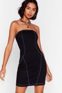 Nasty Gal As It Seams Denim Mini Dress in Black | strapless dresses