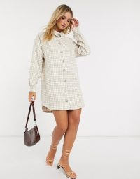 ASOS DESIGN boucle mini shirt dress in camel/ivory houndstooth