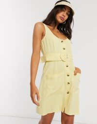 ASOS DESIGN button through linen mini sundress with self covered belt in yellow ~ belted sundresses