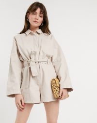 ASOS DESIGN denim oversized belted playsuit in stone
