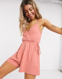 ASOS DESIGN double cami strap wrap playsuit in rosewood
