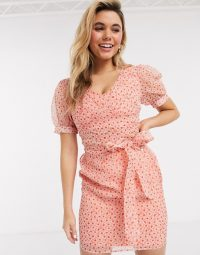 ASOS DESIGN floral organza wrap around mini dress with puff sleeves pink/red floral