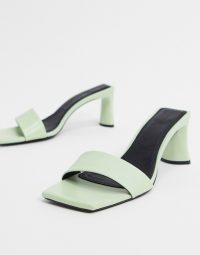 ASOS DESIGN Hasty premium leather mid-heeled mules in mint green – chic square toe mule