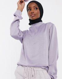 ASOS DESIGN high neck drape top in lilac