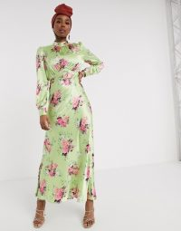ASOS DESIGN high neck maxi satin tea dress in bright floral print – Green based floral