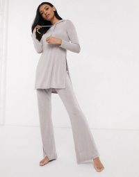 ASOS DESIGN lounge mix & match slinky hoodie and flared trouser set grey