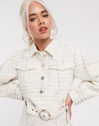ASOS DESIGN Petite exaggerated sleeve boucle suit blazer with pocket detail in ivory