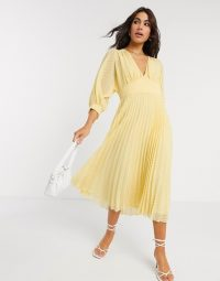ASOS DESIGN pleated batwing midi dress in chevron dobby in yellow ~ plunge-front pleated dresses