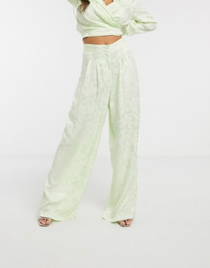 ASOS DESIGN soft jacquard wide leg co ord trousers pastel lime