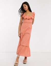 ASOS DESIGN square neck lace insert tiered maxi dress with lace up back in coral