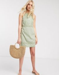 ASOS DESIGN Tall lace insert and dobby mini sundress in sage green