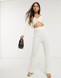 ASOS DESIGN twist knitted co-ord in cream