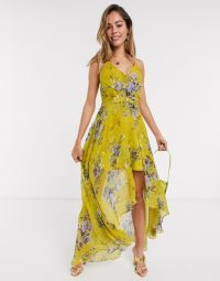 ASOS DESIGN wrap front maxi dress with dipped hem in yellow based floral print | fashion for summer parties
