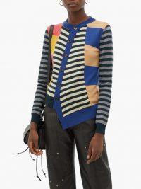 COLVILLE Asymmetric striped wool cardigan ~ multicoloured cardigans