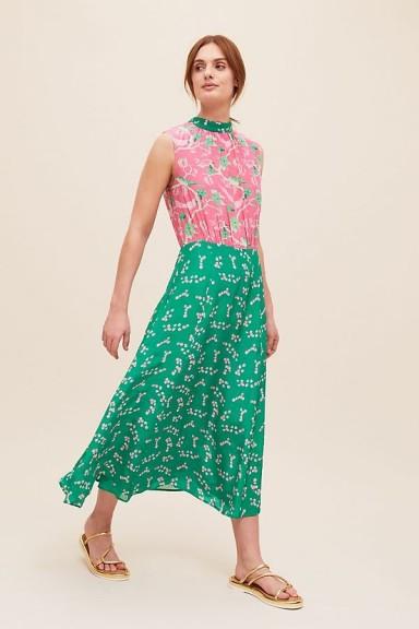 Primrose Park London Mia Dress   sleeveless floral high neck dresses   pink & green