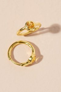 Anthropologie x Theodora Warre Birthstone Hoop Earrings November | yellow birthstones