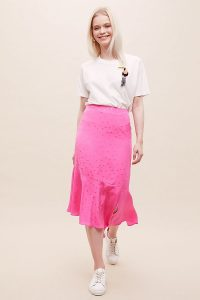 Essentiel Antwerp Chara Polka-Dot Silk Midi Skirt Medium Pink / asymmetrical frill hemline