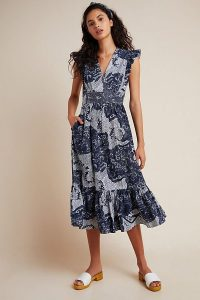 ATSU Altamira Midi Dress Blue Motif / frill trimmed summer dresses