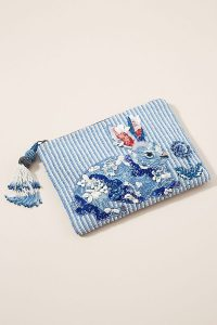 ANTHROPOLOGIE Rabbit Embellished Pouch Blue / cute bunny pouches