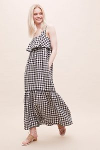 Arya-Gee Gingham Linen Dress Black & White
