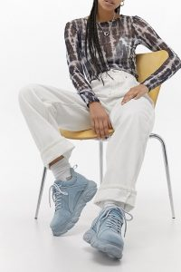 Buffalo Corin Cloud Blue Trainers ~ suede platform sneakers