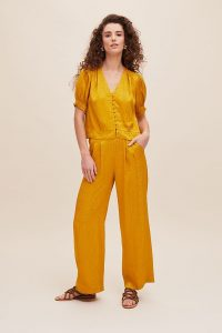 ANTHROPOLOGIE Gini Wide-Leg Trousers in Yellow
