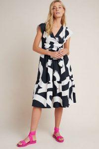 Maeve Mairead Midi Dress Black & White ~ mono flared frock