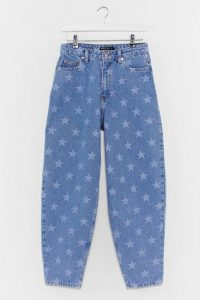 Nasty Girl Baby You're a Star Tapered Jeans in Light Blue | faded denim prints