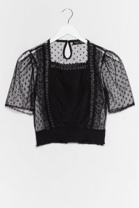 Back to My Place Sheer Spotty Top / black sheer blouse