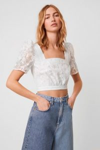 French Connection BAINTANA LACE CROP TOP