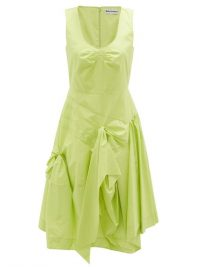 MOLLY GODDARD Baldwin gathered cotton midi dress ~ green sculptured dresses