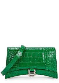BALENCIAGA Hourglass green leather cross-body bag