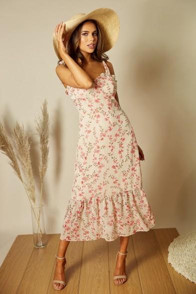 Style Cheat BEATRIX TIE STRAP SHIFT DRESS IN FLORAL PRINT | frill hem dresses