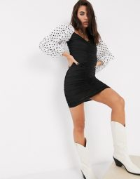 Bershka ruch front dress with polka dot volume sleeves in black | ruched mono dresses